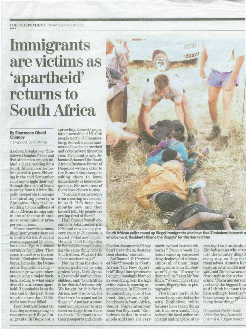 Immigrants are victims as _ apartheid returns to SA_THE INDEPENDENT Friday 13,Oct,2006       scan