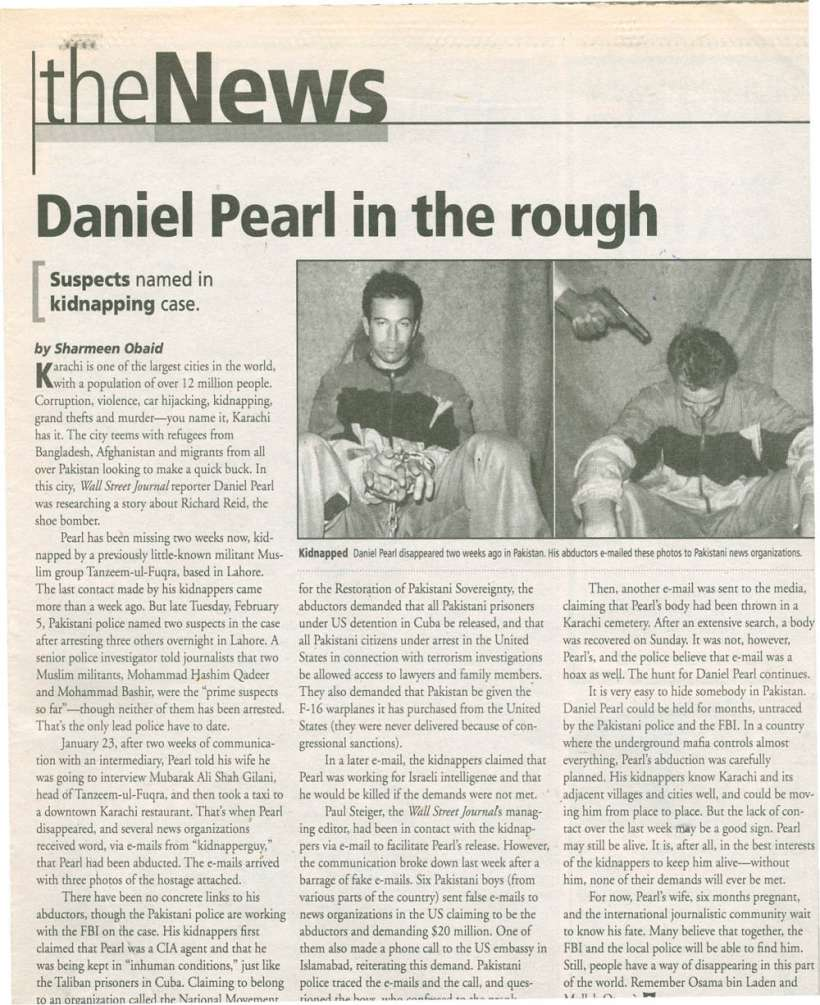Daniel Pearl in the rough The News, February 14, 2002           scan