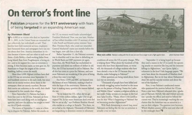 NEWS international, On terror's front line September 12, 2002