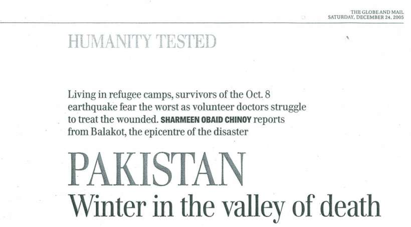 PAK- winter in the valley of death, THE GLOBE AND MAIL Saturday, December 24, 2005       scan (1)-1