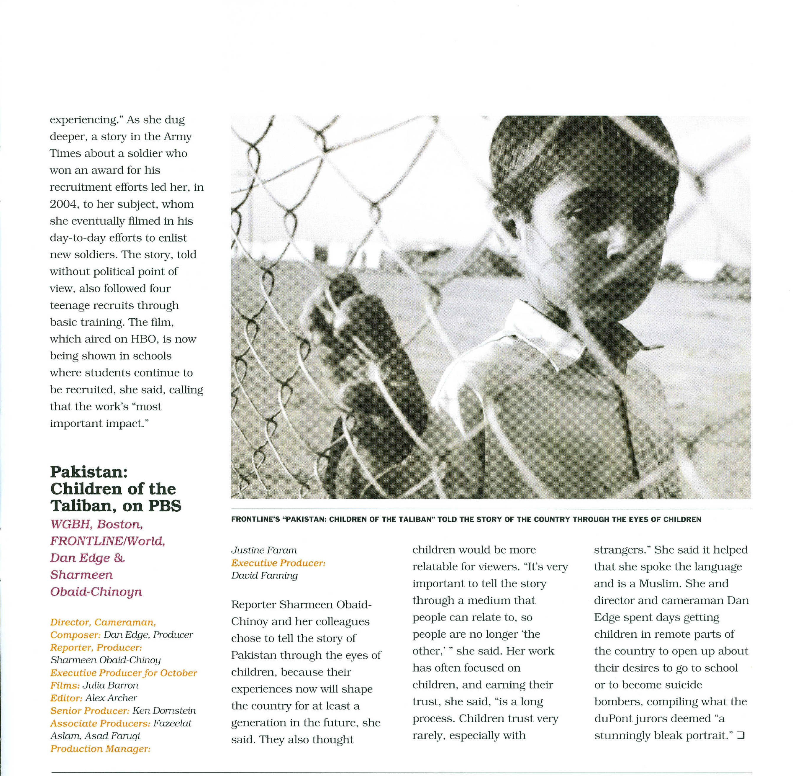 Pak; children of the taliban, on PBS, News Pro January 2010 scan