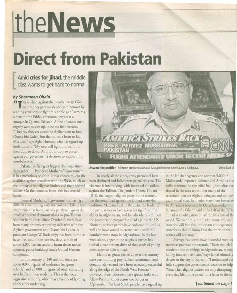 THE NEWS Direct from Pakistan Oct,25, November, 1, 2001 scan-1