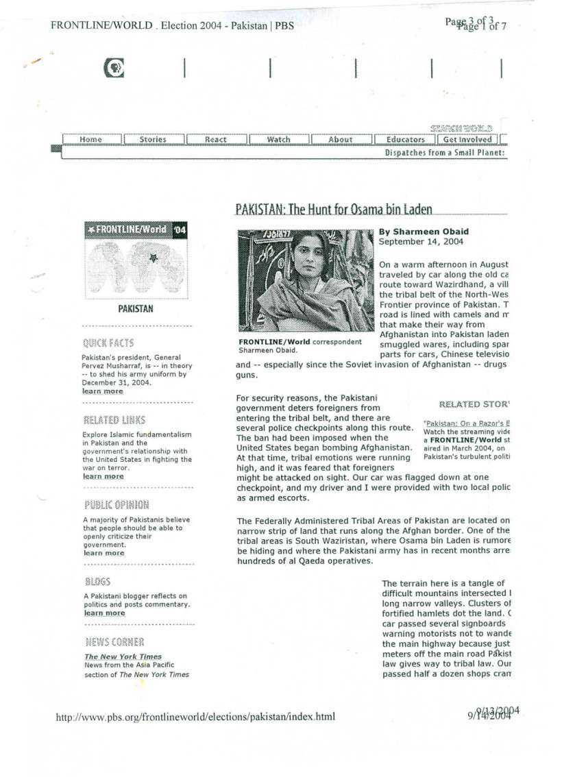 The hunt for Osama, FRONTLINE WORLD . Election 2004 pakistan scan-1