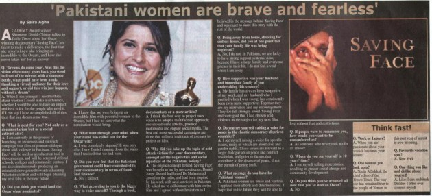 Sharmeen Obaid Chinoy - Daily Times - 18 March 2012