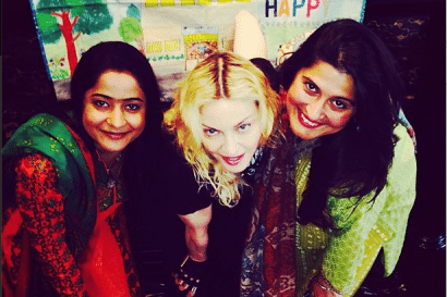 Madonna with Sharmeen and Humaira